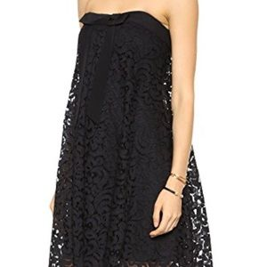Milly lace trapeze dress with gold zipper
